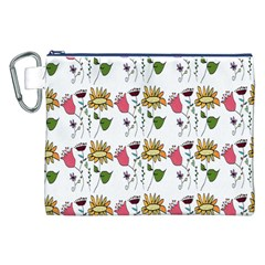 Handmade Pattern With Crazy Flowers Canvas Cosmetic Bag (xxl) by BangZart