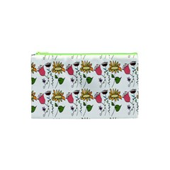 Handmade Pattern With Crazy Flowers Cosmetic Bag (xs) by BangZart