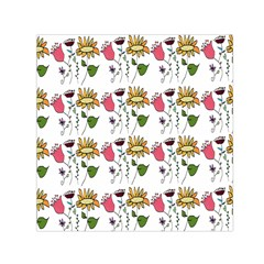 Handmade Pattern With Crazy Flowers Small Satin Scarf (square) by BangZart