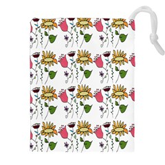 Handmade Pattern With Crazy Flowers Drawstring Pouches (xxl) by BangZart