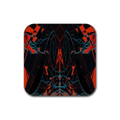 Doodle Art Pattern Background Rubber Square Coaster (4 Pack)  by BangZart
