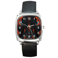 Doodle Art Pattern Background Square Metal Watch