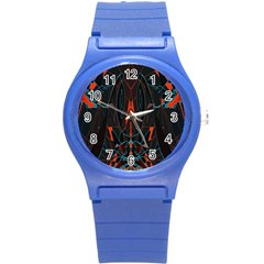 Doodle Art Pattern Background Round Plastic Sport Watch (s)