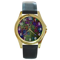 Grunge Rose Background Pattern Round Gold Metal Watch by BangZart