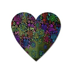 Grunge Rose Background Pattern Heart Magnet by BangZart