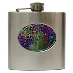 Grunge Rose Background Pattern Hip Flask (6 Oz) by BangZart