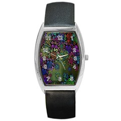 Grunge Rose Background Pattern Barrel Style Metal Watch by BangZart
