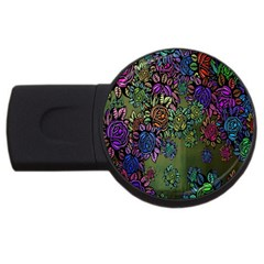 Grunge Rose Background Pattern Usb Flash Drive Round (4 Gb) by BangZart
