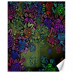 Grunge Rose Background Pattern Canvas 16  X 20