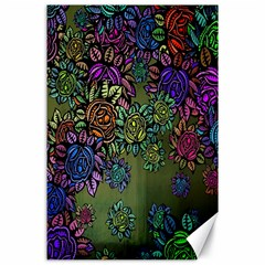 Grunge Rose Background Pattern Canvas 24  X 36  by BangZart