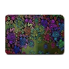 Grunge Rose Background Pattern Small Doormat