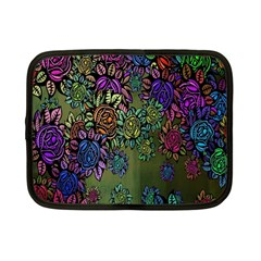 Grunge Rose Background Pattern Netbook Case (small)  by BangZart