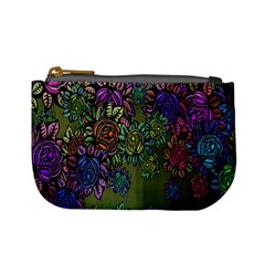 Grunge Rose Background Pattern Mini Coin Purses