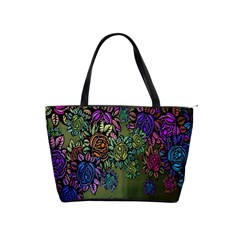 Grunge Rose Background Pattern Shoulder Handbags by BangZart
