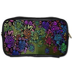 Grunge Rose Background Pattern Toiletries Bags by BangZart