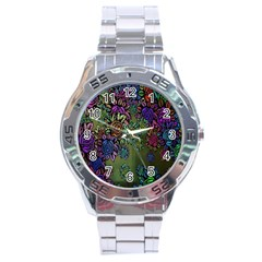 Grunge Rose Background Pattern Stainless Steel Analogue Watch by BangZart