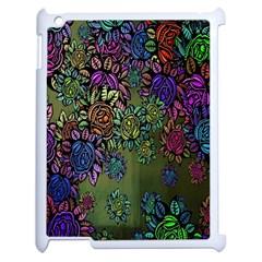 Grunge Rose Background Pattern Apple Ipad 2 Case (white) by BangZart