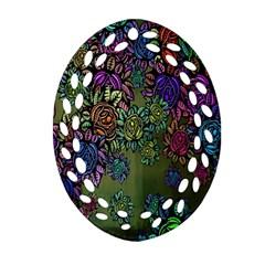 Grunge Rose Background Pattern Ornament (oval Filigree) by BangZart