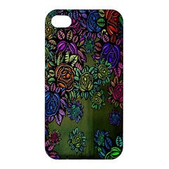 Grunge Rose Background Pattern Apple Iphone 4/4s Premium Hardshell Case