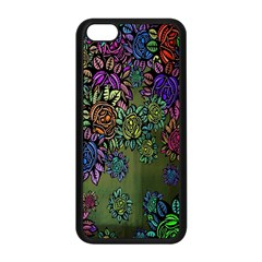 Grunge Rose Background Pattern Apple Iphone 5c Seamless Case (black)