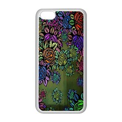 Grunge Rose Background Pattern Apple Iphone 5c Seamless Case (white)