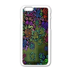 Grunge Rose Background Pattern Apple Iphone 6/6s White Enamel Case by BangZart