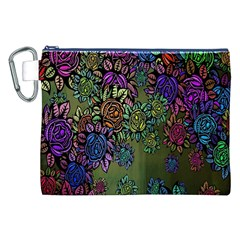 Grunge Rose Background Pattern Canvas Cosmetic Bag (xxl) by BangZart