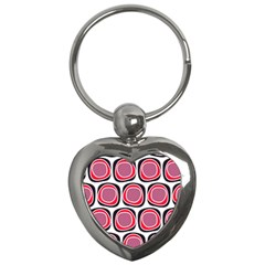 Wheel Stones Pink Pattern Abstract Background Key Chains (heart)  by BangZart