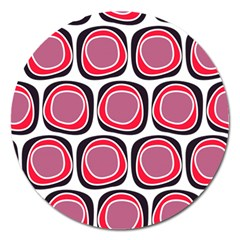 Wheel Stones Pink Pattern Abstract Background Magnet 5  (round)