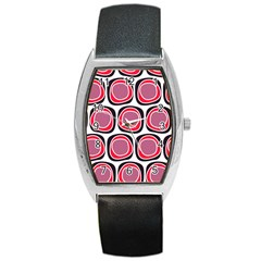 Wheel Stones Pink Pattern Abstract Background Barrel Style Metal Watch by BangZart