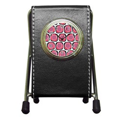 Wheel Stones Pink Pattern Abstract Background Pen Holder Desk Clocks