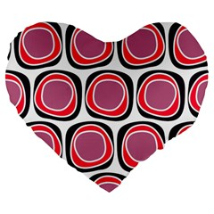 Wheel Stones Pink Pattern Abstract Background Large 19  Premium Flano Heart Shape Cushions by BangZart
