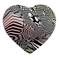 Abstract Fauna Pattern When Zebra And Giraffe Melt Together Ornament (heart)