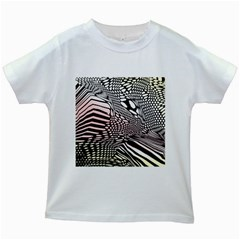 Abstract Fauna Pattern When Zebra And Giraffe Melt Together Kids White T Shirts