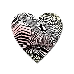 Abstract Fauna Pattern When Zebra And Giraffe Melt Together Heart Magnet by BangZart