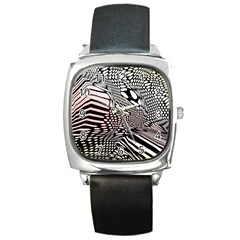 Abstract Fauna Pattern When Zebra And Giraffe Melt Together Square Metal Watch by BangZart