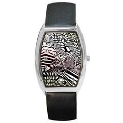 Abstract Fauna Pattern When Zebra And Giraffe Melt Together Barrel Style Metal Watch