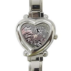 Abstract Fauna Pattern When Zebra And Giraffe Melt Together Heart Italian Charm Watch by BangZart