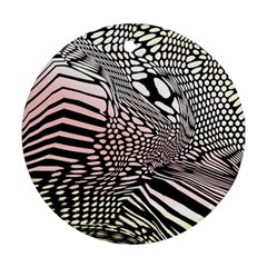 Abstract Fauna Pattern When Zebra And Giraffe Melt Together Round Ornament (two Sides)