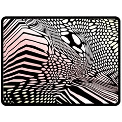 Abstract Fauna Pattern When Zebra And Giraffe Melt Together Fleece Blanket (large)