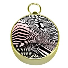 Abstract Fauna Pattern When Zebra And Giraffe Melt Together Gold Compasses by BangZart