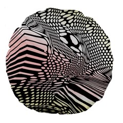 Abstract Fauna Pattern When Zebra And Giraffe Melt Together Large 18  Premium Flano Round Cushions by BangZart