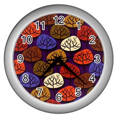 Colorful Trees Background Pattern Wall Clocks (silver)