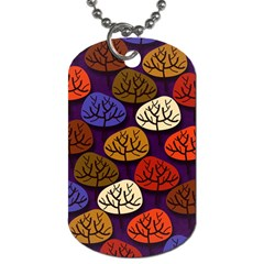 Colorful Trees Background Pattern Dog Tag (two Sides)
