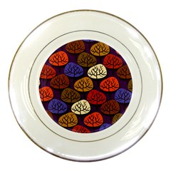 Colorful Trees Background Pattern Porcelain Plates by BangZart