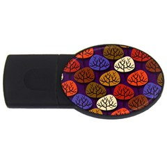 Colorful Trees Background Pattern Usb Flash Drive Oval (4 Gb)