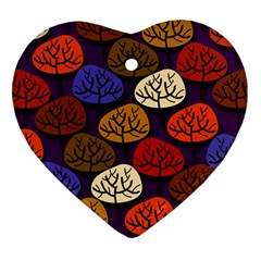 Colorful Trees Background Pattern Heart Ornament (two Sides) by BangZart
