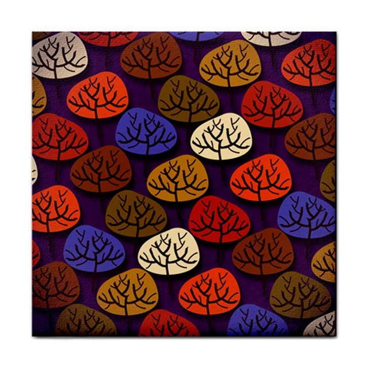 Colorful Trees Background Pattern Face Towel
