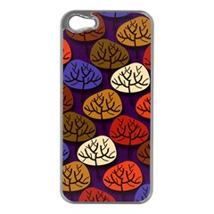 Colorful Trees Background Pattern Apple Iphone 5 Case (silver)