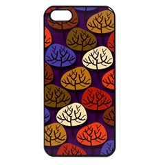 Colorful Trees Background Pattern Apple Iphone 5 Seamless Case (black)
